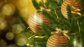 Yellow Christmas Balls Wallpaper For PC