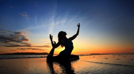 Yoga At Sunset Wallpaper Background