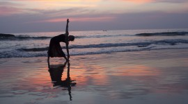 Yoga At Sunset Wallpaper Download Free