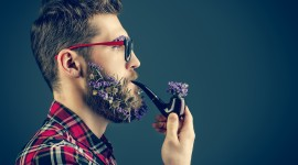 Flowers In The Beard High Quality Wallpaper