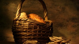 4K Basket With Bread Best Wallpaper
