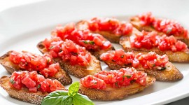 Bruschetta With Tomatoes Wallpaper Background