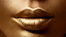 Golden Lips Wallpaper For Mobile