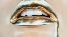 Golden Lips Wallpaper Full HD