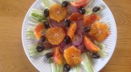 Salad From Oranges Wallpaper Background