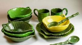 Green Tableware Wallpaper