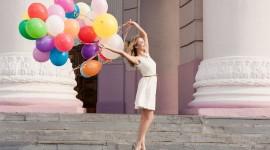 Girl With Balloon Desktop Wallpaper HD