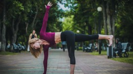 Yoga On The Street Wallpaper Background