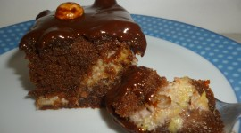 Brownie With Bananas Photo