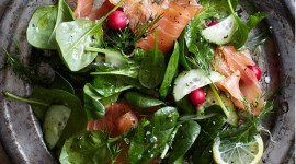 Salad With Salmon Wallpaper