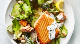 Salad With Salmon Wallpaper For Mobile