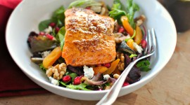 Salad With Salmon Wallpaper Free