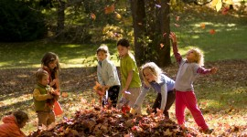 Children Playing In Autumn Leaves Pics#1