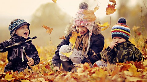 Children Playing In Autumn Leaves wallpapers high quality