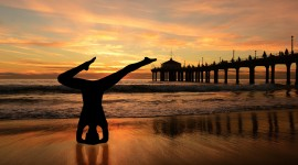 Yoga On The Beach Desktop Wallpaper Free