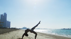 Yoga On The Beach Wallpaper For IPhone