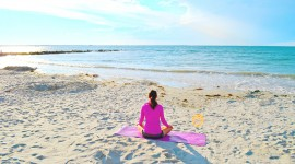 Yoga On The Beach Wallpaper High Definition