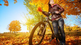 Cycling In Autumn Wallpaper Download