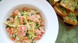 Salmon Pasta Wallpaper Download Free