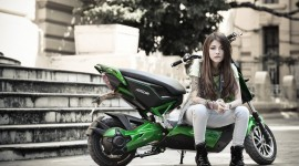 4K Girl On A Motorcycle Aircraft Picture
