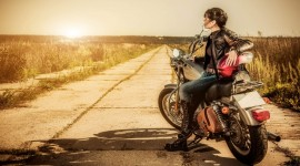 4K Girl On A Motorcycle Photo Download