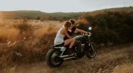 4K Girl On A Motorcycle Photo Free
