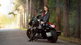 4K Girl On A Motorcycle Wallpaper HQ#1