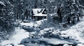 House In Winter Forest Best Wallpaper