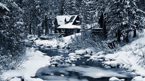 House In Winter Forest wallpapers high quality