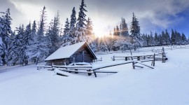 House In Winter Forest Desktop For PC