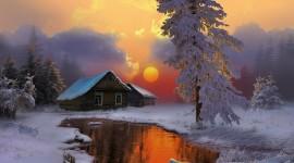 House In Winter Forest Desktop Wallpaper HD