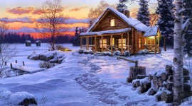 House In Winter Forest Image Download