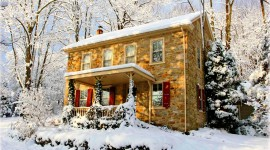 House In Winter Forest Photo Free