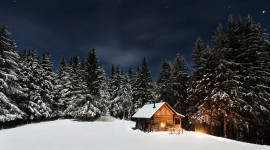 House In Winter Forest Picture Download