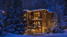 House In Winter Forest Wallpaper