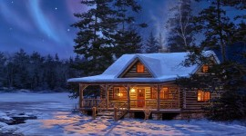 House In Winter Forest Wallpaper For PC