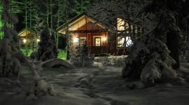 House In Winter Forest Wallpaper Full HD
