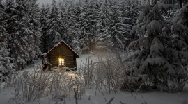 House In Winter Forest Wallpaper HQ#2