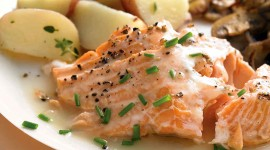 Salmon In Sauce Wallpaper For IPhone