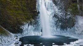 Winter Waterfall Desktop Wallpaper For PC