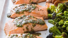 Salmon With Broccoli Wallpaper