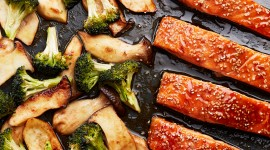 Salmon With Broccoli Wallpaper Free