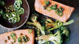 Salmon With Broccoli Wallpaper HD
