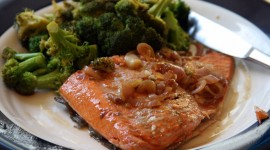 Salmon With Broccoli Wallpaper HQ