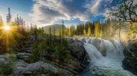 Forest River Sunset Desktop Wallpaper