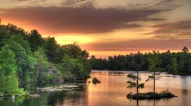 Forest River Sunset Photo Free