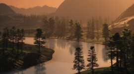 Forest River Sunset Wallpaper For IPhone