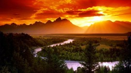 Forest River Sunset Wallpaper Free