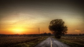 Sunset On The Road Wallpaper For PC