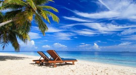 4K Beach Chairs Desktop Wallpaper HD